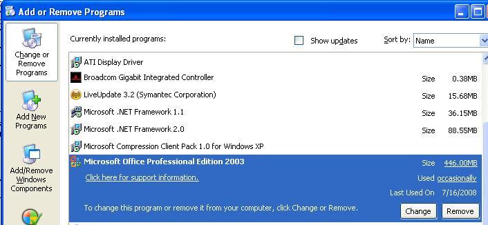 add remove programs