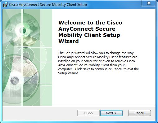 screenshot of cisco Any Connect Secure mobility client setup window