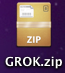 Screen shot of .zip file with the unarchiver icon