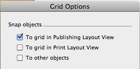 Screen shot of Grid options