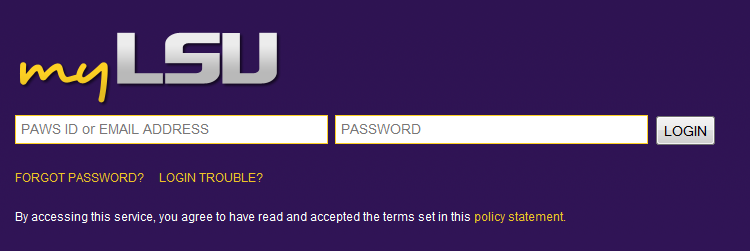 screenshot of myLSU login
