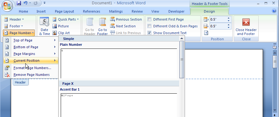 Word 2007: Add Page Number to Header or Footer