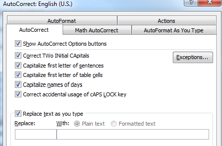 screenshot of replace text as you type option in autocorrect dialogue box