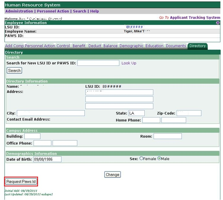 screenshot of HRS 2 in myLSU Portal with request paws id highlighted