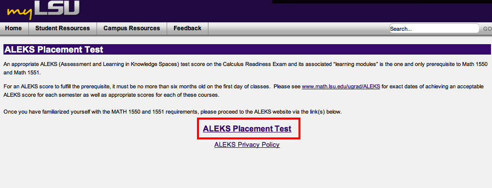 screenshot of the myLSU Portal ALEKS Placement Test Select