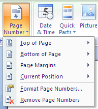 Word 2007: Add Page Number to Header and Footer