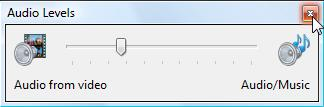 Screen shot of close button on the audio levels window.