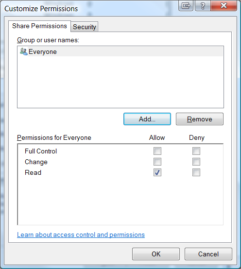 Customize Permissions tab