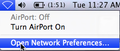 Open Network Preferences button