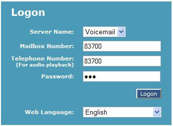 Logon to voicemail pop-up window