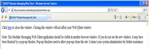 This warning appears: closing this window will not affect your web client window