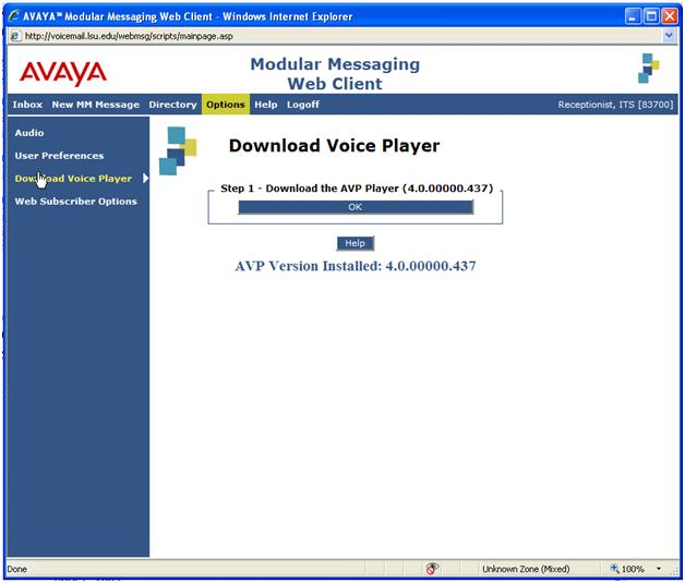 Pop up window of the voice player being downloaded
