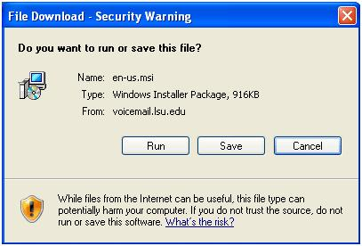 Run or Save file pop up window