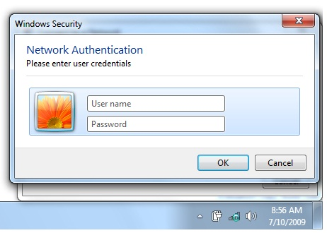 Entering L S U credentials in the Network Authentication window