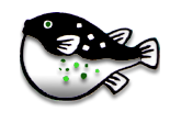 the fugu logo. The logo displays a drawing of a black and white puffer fish.