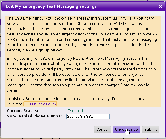 Unsubscribing Window for My Emergency Text Messaging Settings