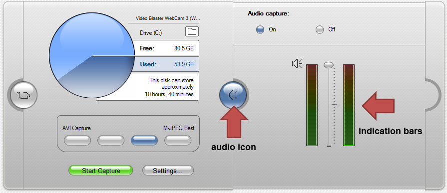 audio capture with audio icon and indication bars identified