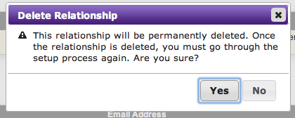 Delete Relationship window