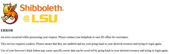screenshot of the shibboleth @ LSU error screen.