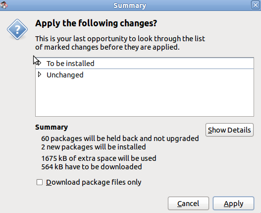 the summary dialog box