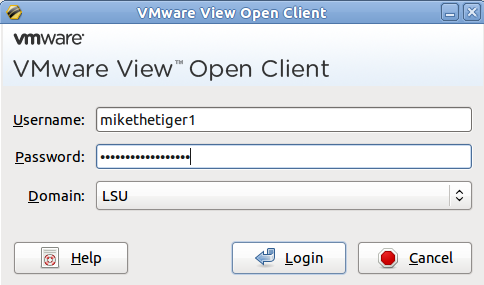 the vmware view open client login window