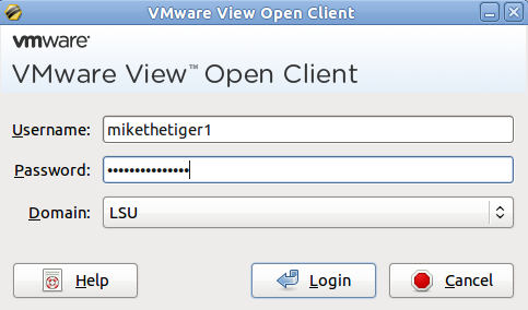 VMware open client pop-up window.