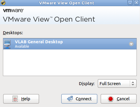 Desktop connection button in the VMware View Open Client Window