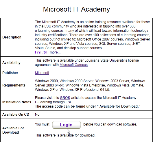 screenshot myLSU: Microsoft IT Academy in Tigerware