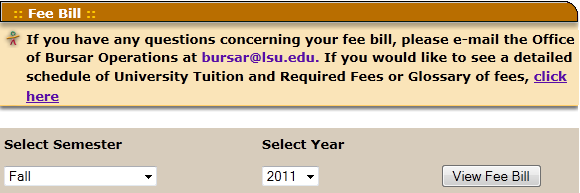 The Fee Bill dialog box with options to view bills from different semesters