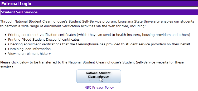 External login windown to National Student Clearinghouse
