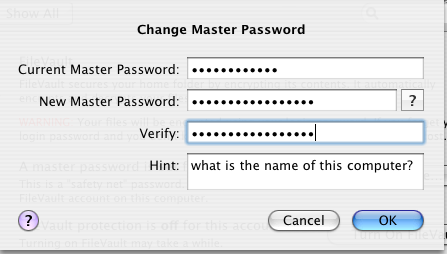 image of Change Master Password screen capture