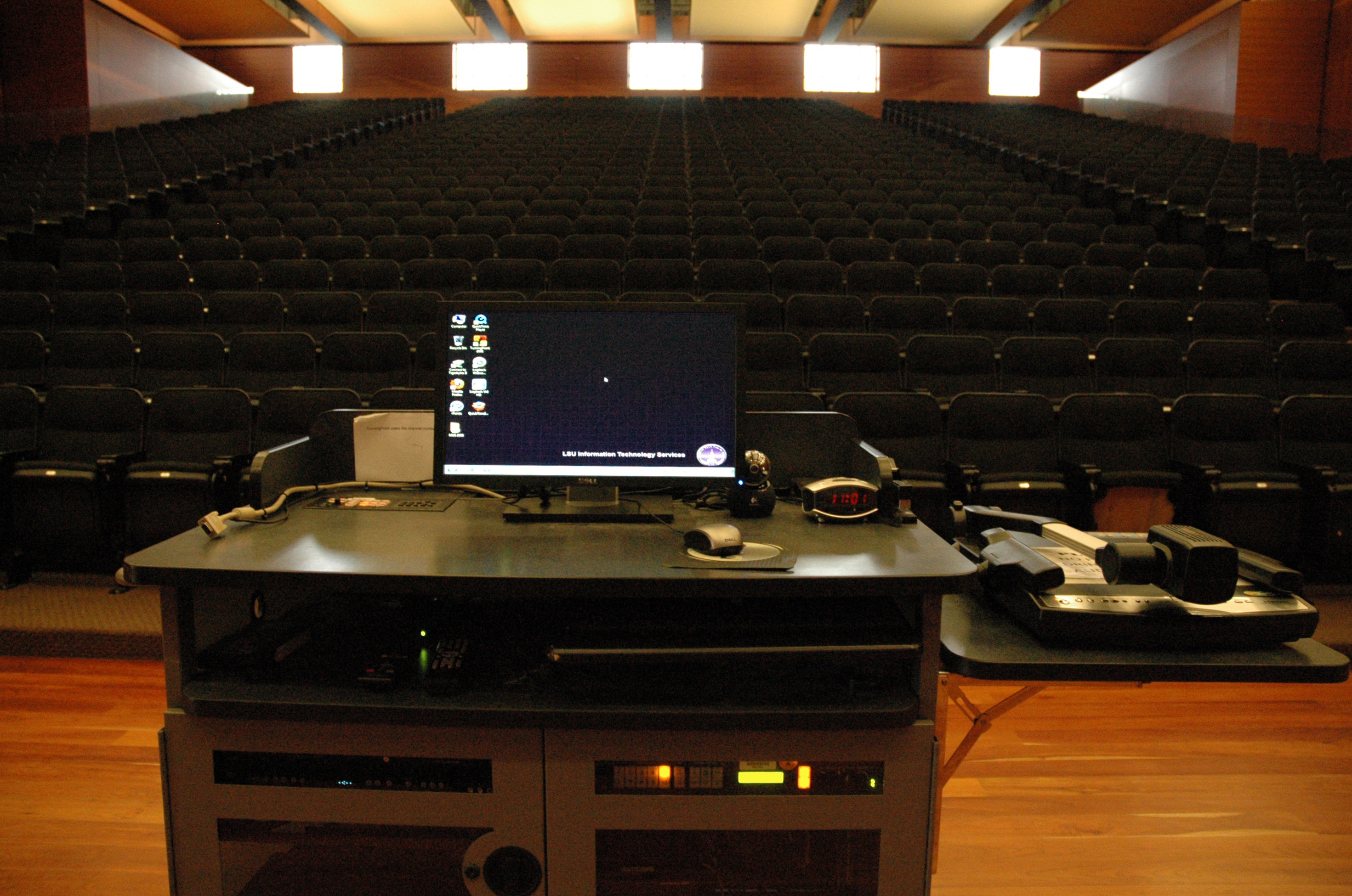 campbell's Multimedia podium overlooking classroom