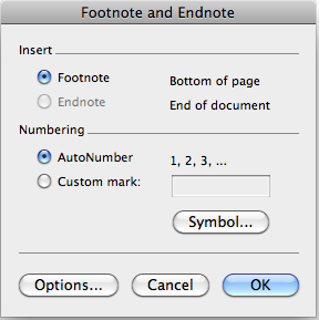 screenshot of footnote and endnote dialog box.