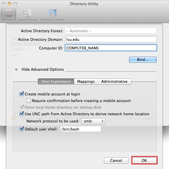 the directory utility dialog box.