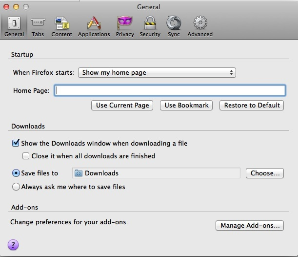how to change download location in firefox