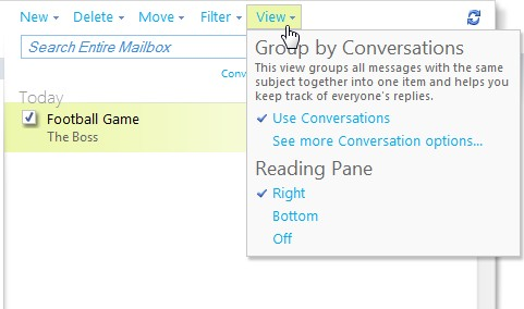 view drop-down menu that can change the view of the reading pane