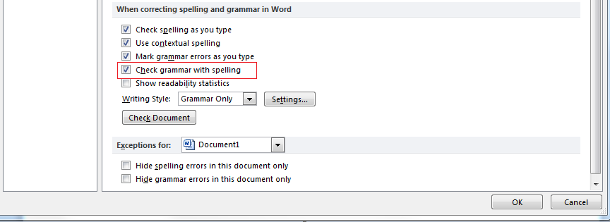 screenshot of the Check grammar with spelling checkbox.