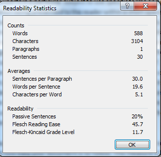 screenshot of the readability statisitcs window.