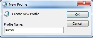 Outlook New Profile window. There is a small text box at the bottom left of the window asking you to enter a Profile name. On the right of the window, there are two buttons, OK and Cancel. OK is on top, and cancel is below it.