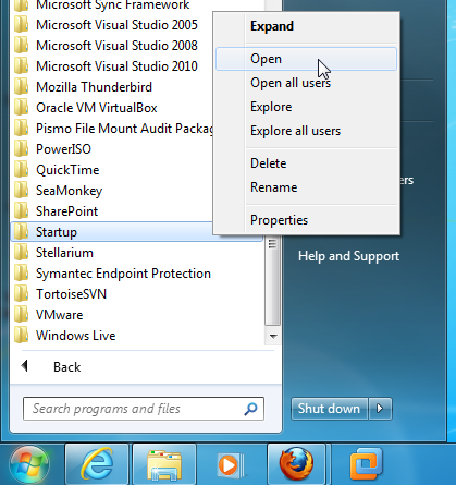 The start up folder with the open option highlighted