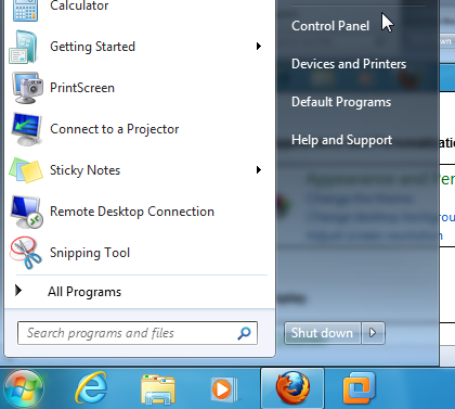 Control panel on the start menu.