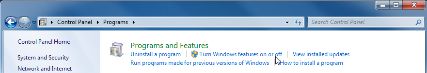 Turn Windows features on or off option.