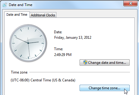 the change time zone button