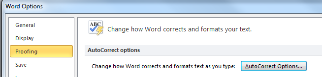 screenshot of autocorrect options command in the proofing section