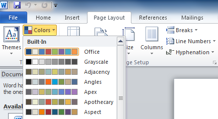 Page Layout Tab Word 2010 on The Page Layout Tab