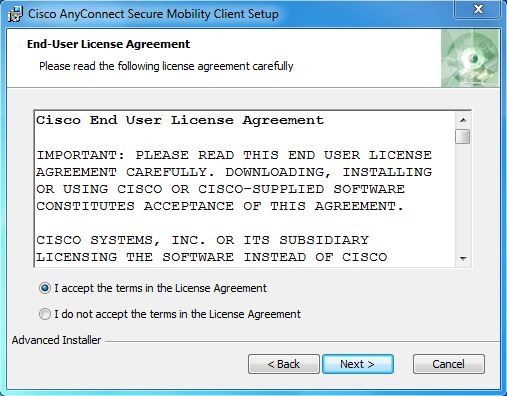screenshot of the terms and license agreement