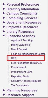 screenshot of HRS highlighted in myLSU Portal