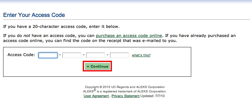 screenshot of the ALEKS Enter Your Access Code
