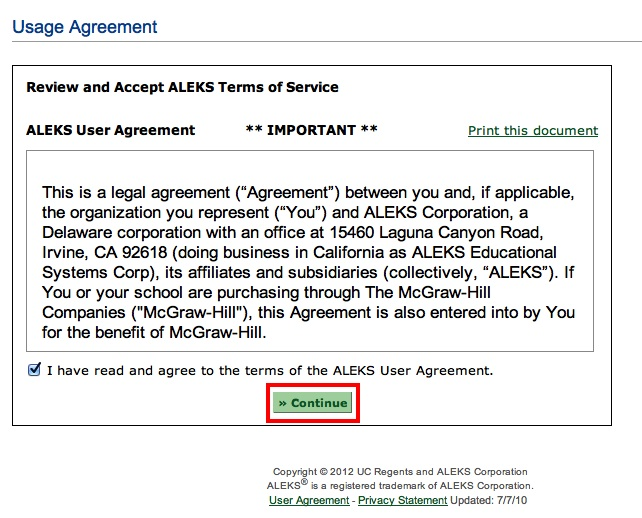 ALEKS Assessment test User agreement