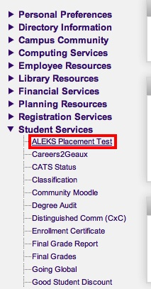 screenshot of the myLSU ALEKS Placement Test Access
